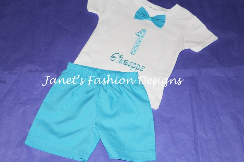 Sky blue shorts and white shirt embroidered applique blue etsy