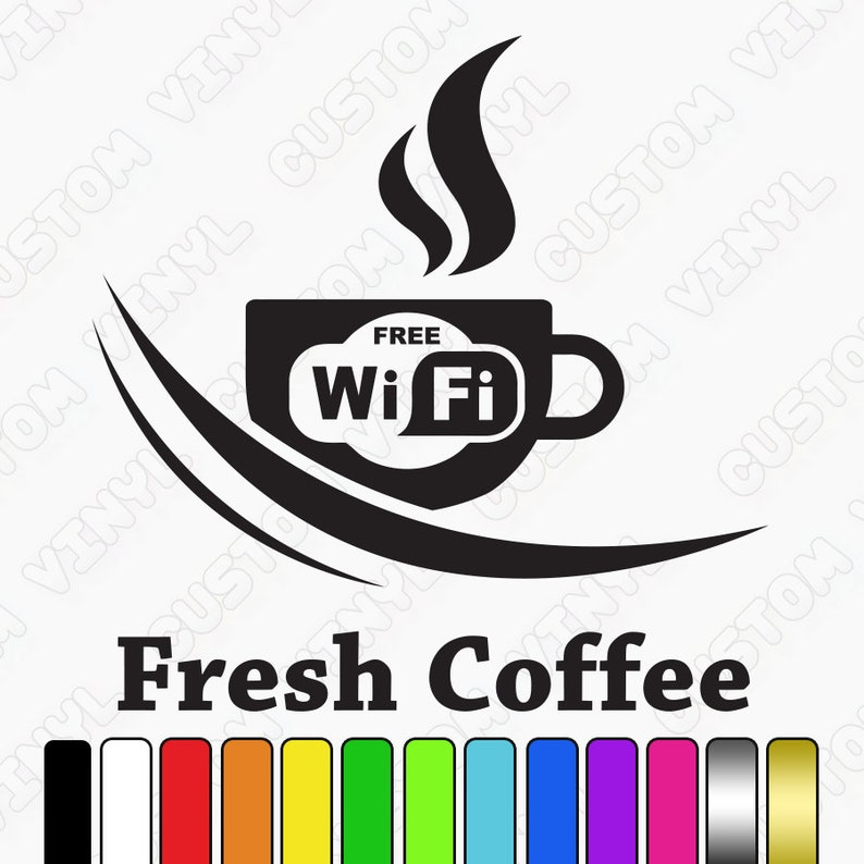 Free Wifi Cup Coffee Shop Sticker Window Vinyl Sign Sticker, Cafe Bar Shop  Wifi