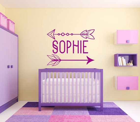 arrow wall sticker decal custom name and colour vinyl arrow | etsy