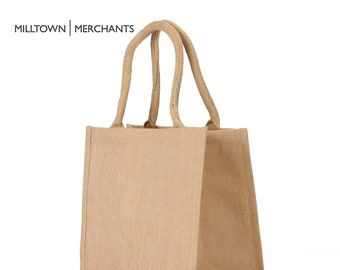 6bf142a00 Medium Jute Burlap Tote Bags 12 PACK - Natural Burlap Bags with Cotton  Handles - Reusable Tote Bag with Laminated Interior Shopping Gift Bag