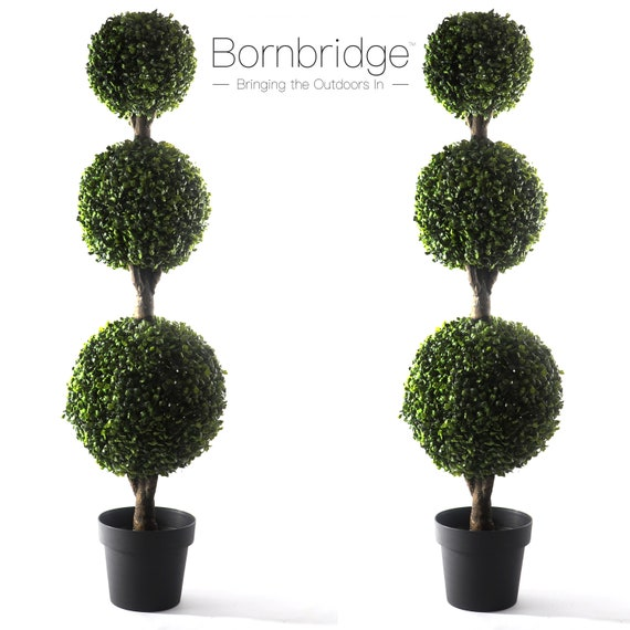 Artificial Boxwood Topiary Ball Tree 2 Pack 4 Boxwood Etsy