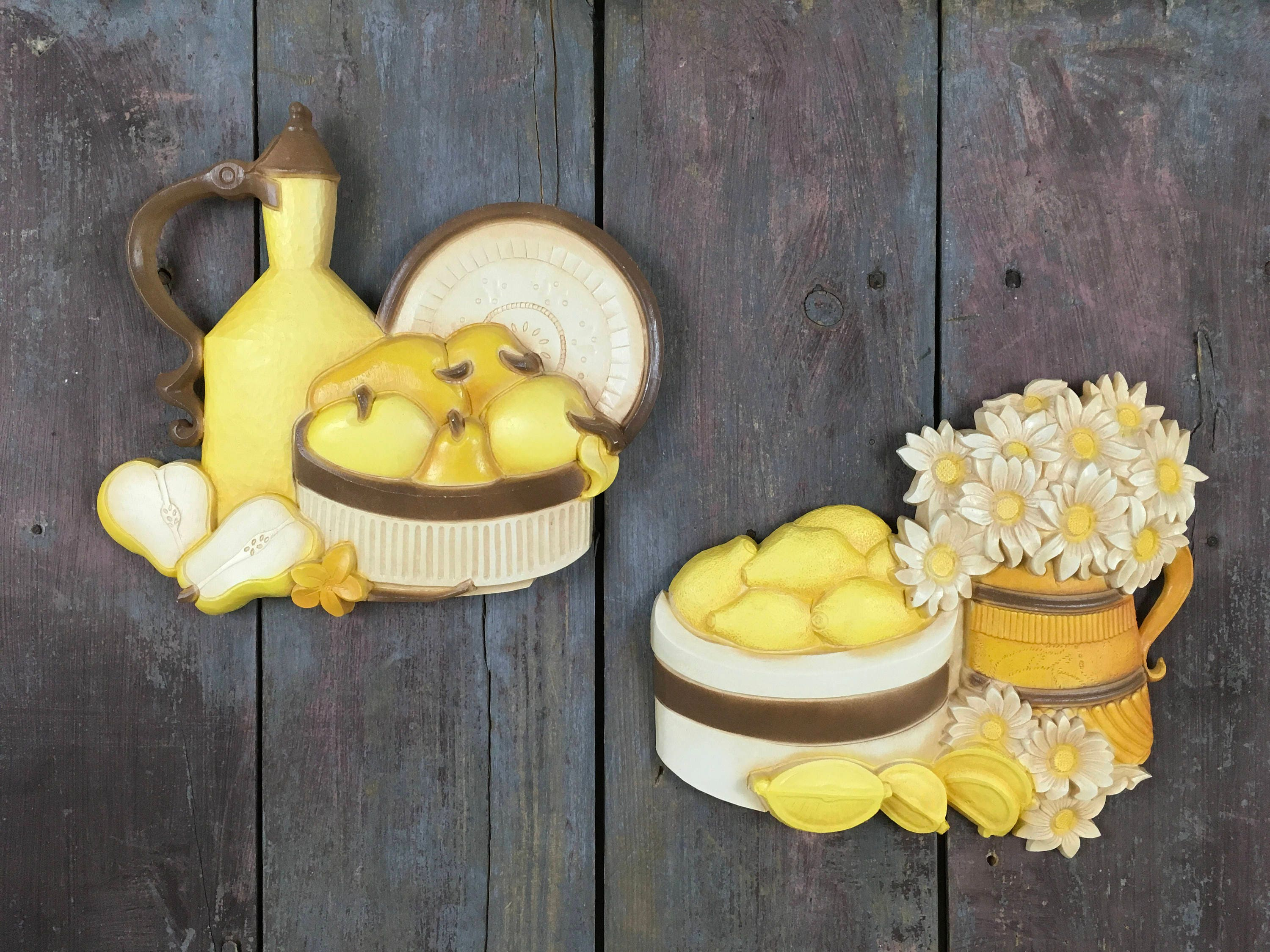 Syroco Plastic Fruit and Flowers Homco (7610 A & B) Wall Plaques~Set ...