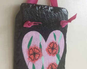Little Pink Heart Slate with Flowers