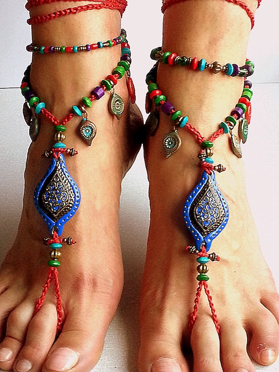 Handmade Barefoot Sandals Boho Crochet Hippy Foot Jewellery Gypsy Lace Up Anklet