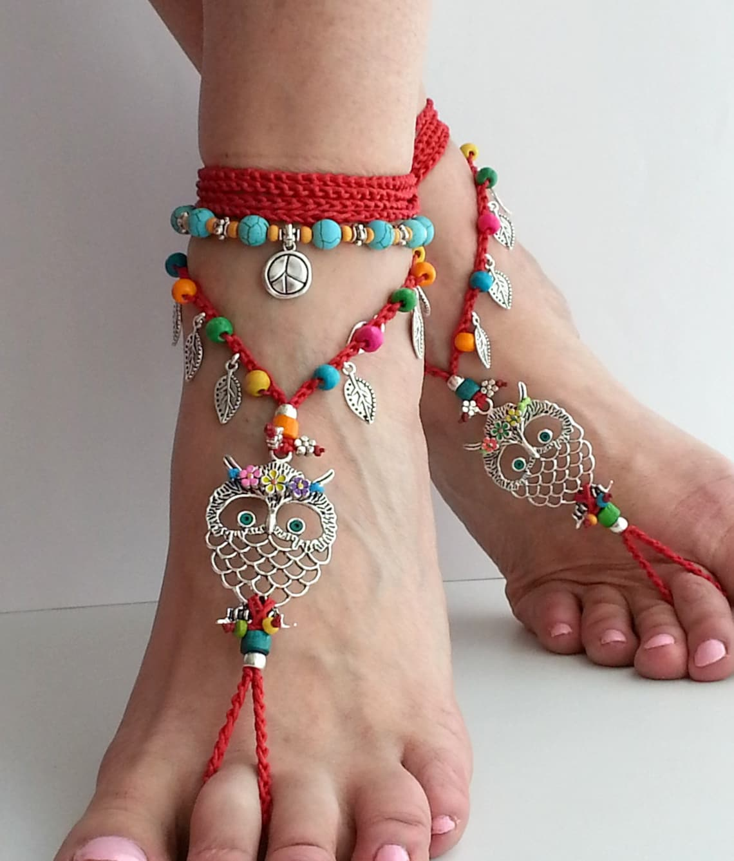 Hippie Owl Barefoot Sandals Red Crochet - Big Sale jsUJV