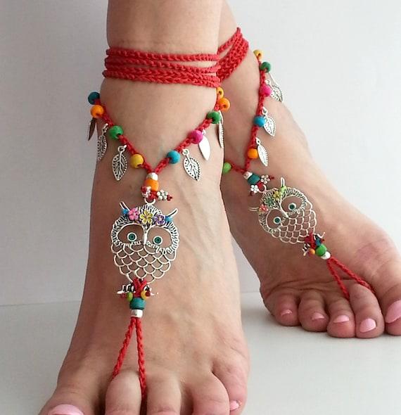 De Festival Buho Sandalias Descalzos SandaliasTobilleras Crochet Hippie RojoHippyJoyeríaBohemioRojo rsQdtChx