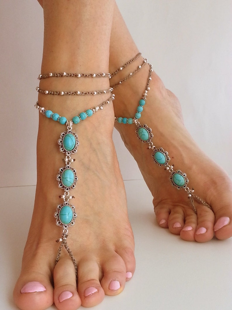 0d1255dbc244d BEACH WEDDING BAREFOOT sandals Blue turquoise stone Hippie