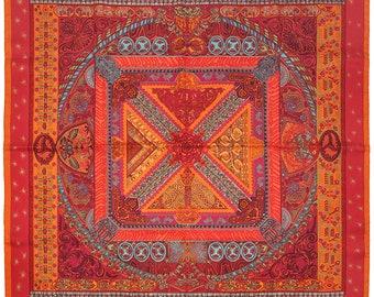 FOULARD HERMES en soie « Sur Un Tapis Volant » par Annie Faivre 90cm Carre  100 % Auth 341929eaa3d