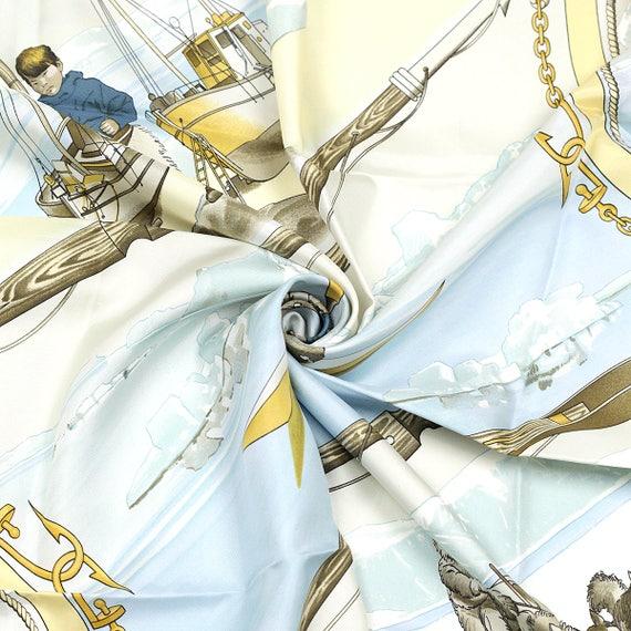 FOULARD HERMES en soie « Gronland » par Philippe Ledoux 90cm Carre 100 %  Auth fec85b71a52