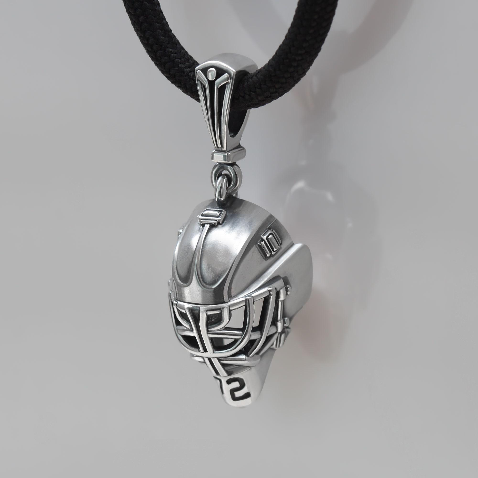 Ice Hockey Mask Necklace Goalie Mask Necklace Hockey Charm Necklace Sports Necklace Personalized Necklace Custom Initial Necklace