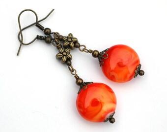 Orange boho earrings, gift for her, birthday gift