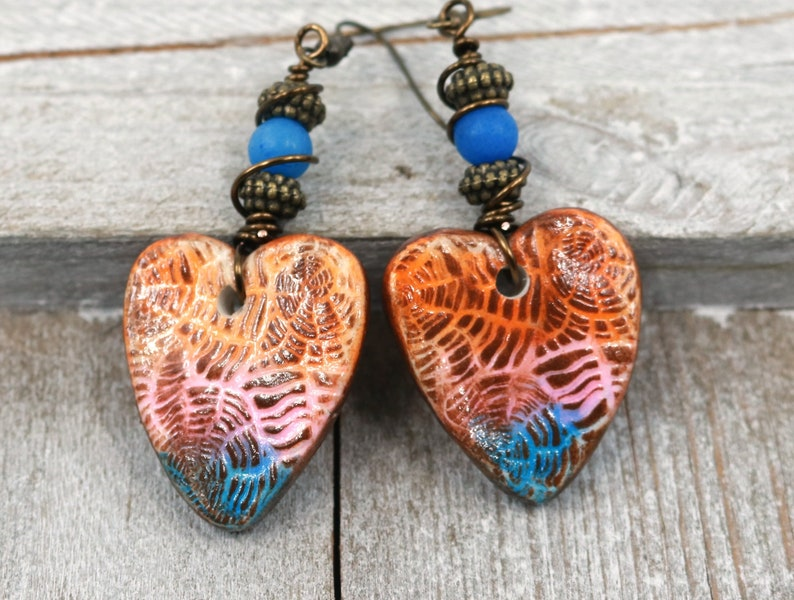 polymer clay romantic jewelry wire wrap jewelry Clay heart earrings Valentine gift