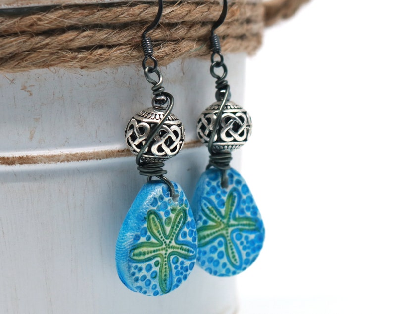gift under 30 Blue clay earrings trending now polymer clay starfish earrings