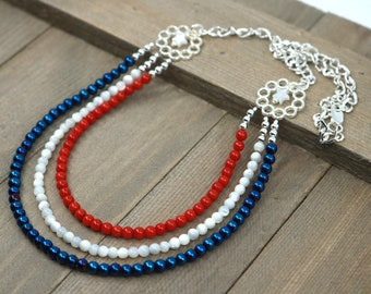 Patriotic necklace red white blue silver gift idea