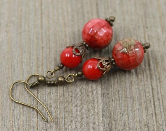 image 0 & Red boho earrings simple earrings anniversary gift colorful | Etsy