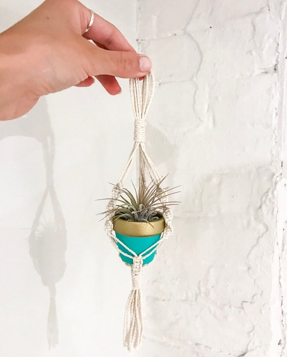 Mini Macrame Plant Hanger Rearview Mirror Macrame Mini Etsy