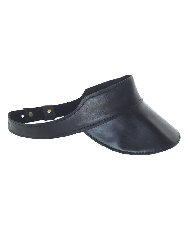 Leather Visor Huntington Visor in Black Leather