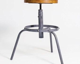 Invecchiato in acciaio e faggio legno regolabile sgabello etsy