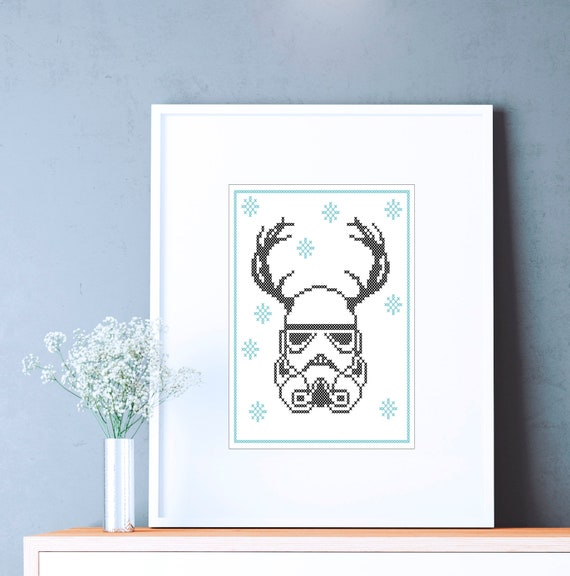 Christmas reindeer Stormtrooper Star wars Cross Stitch Pattern