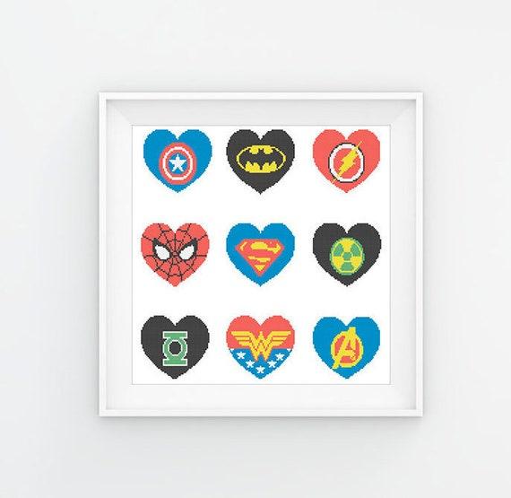 BOGO FREE Superheroes Marvel and DC Hearts Logo Cross Stitch | Etsy