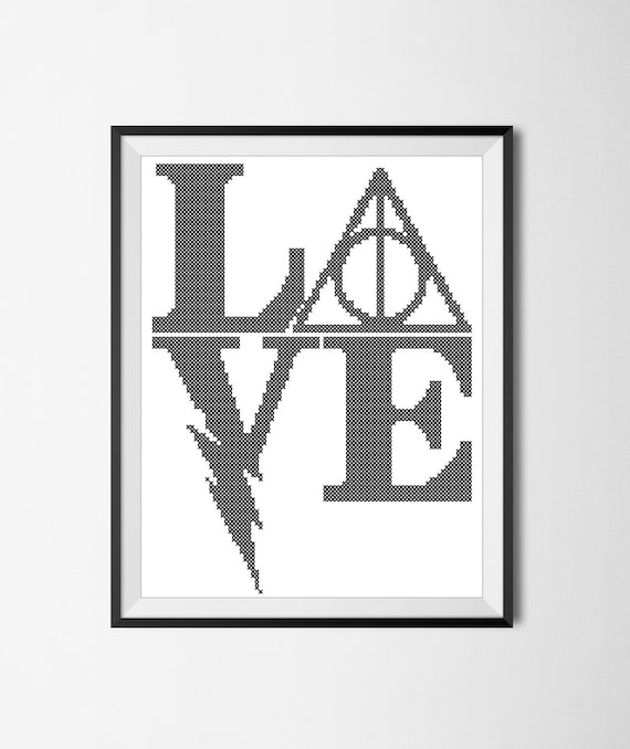 BOGO FREE! -Harry Potter Logo LOVE original pattern monochrome - Harry  Potter cross stitch pdf Pattern - pdf pattern instant download #57