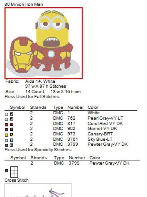 BOGO FREE Cross stitch pattern Minion IRON Man pdf cross | Etsy
