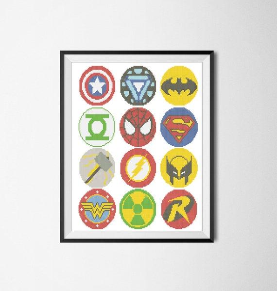 BOGO FREE Superheroes Marvel logos comic characters Cross | Etsy