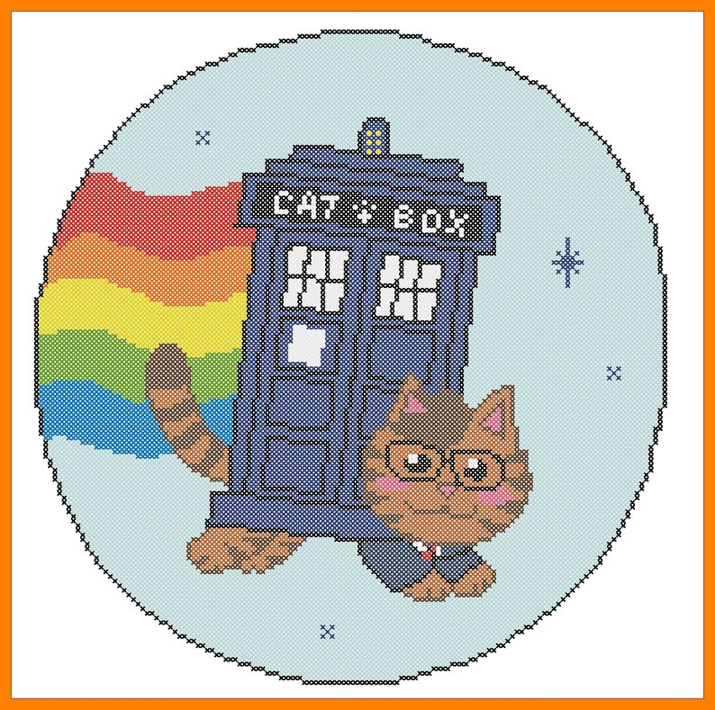 BOGO FREE! Catbox Doctor Who TARDIS movie Doctor Who pdf cross stitch  pattern - pdf pattern instant download #260