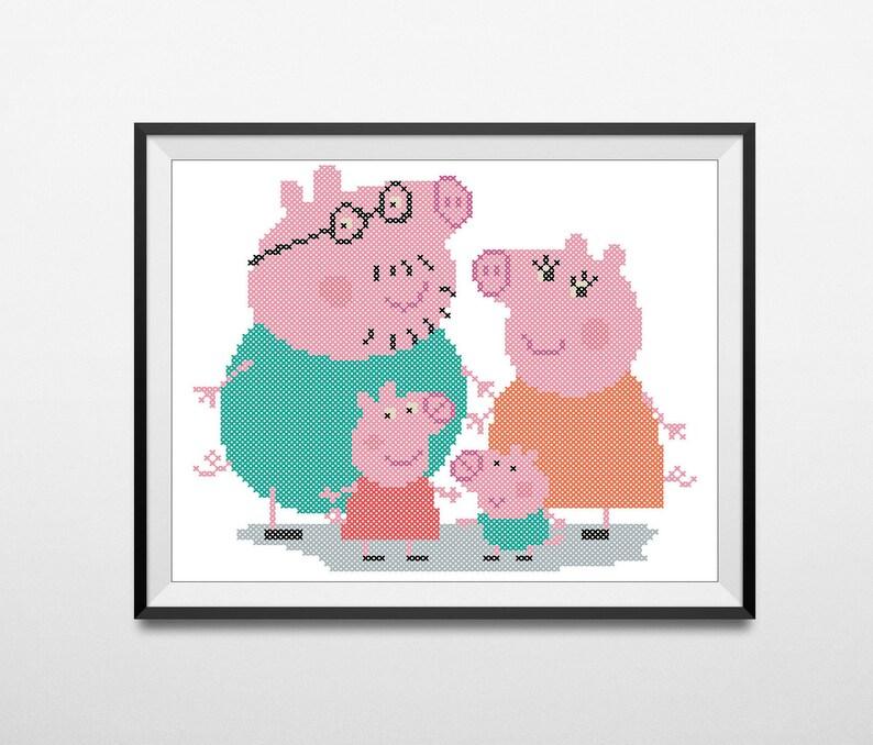 BOGO FREE!- PEPPA Pig Family- cross stitch pdf Pattern - pdf pattern  instant download #55