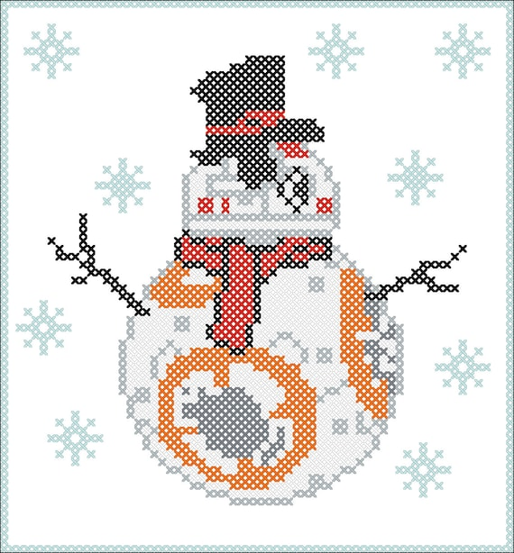 Snowmаn Droid BB8 Star wars Cross Stitch Pattern