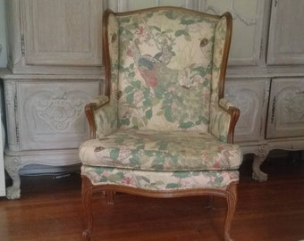 Wingback Chair Country French Peacock Charming Vintage Piece, Lovely  Pattern On Classic Graceful Seating For Your Decor. Ship Not Included.