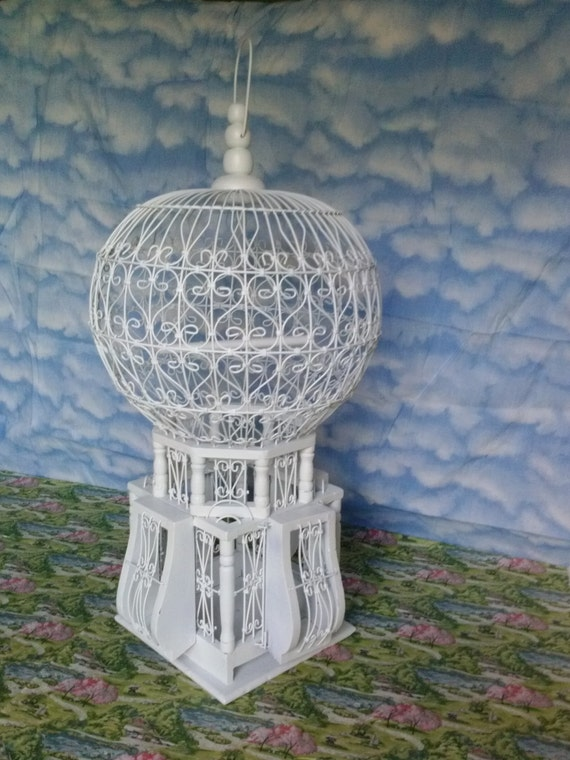 Victorian Grande Bird Cage  White wire and wood in an intricate design   Lovely home decor and interior accent