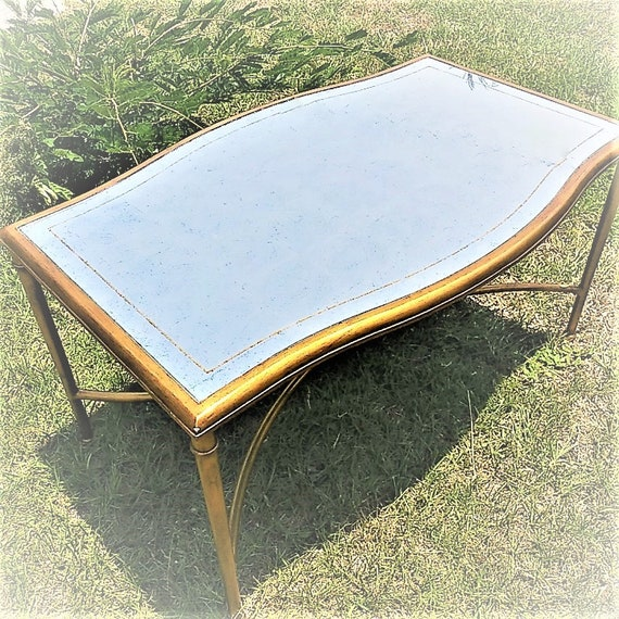 Coffee Table Antique Mirror Top Gold Bronze Metal Frame Etsy