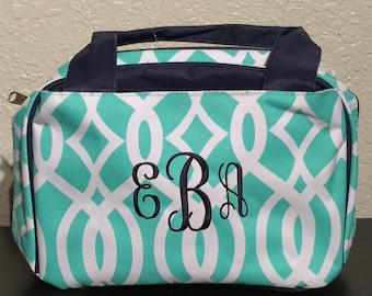 Vine Print Monogrammed Lunch Box Mint Green and White with Navy Blue Trim.  CoHoBags c8fc608ae2350