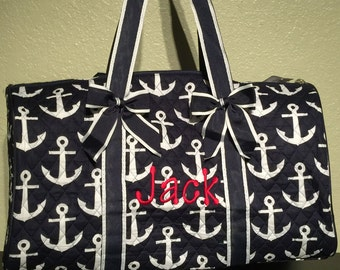 Anchor Print Nautical Monogrammed Duffle Bag Navy Blue and White 271432e35fd47