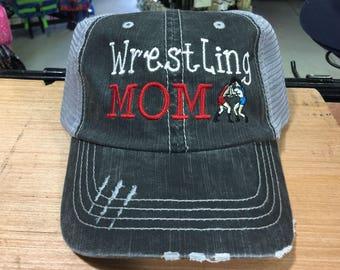 Wrestling Mom Embroidered Monogrammed Distressed Trucker Cap Dark Gray