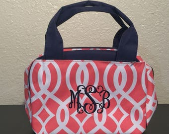 Vine Print Monogrammed Lunch Box Coral and White with Navy Blue Trim.  CoHoBags 877965ead9cf3