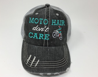 72f8a83ec01 Moto Hair Don t Care Monogrammed Embroidered Distressed Trucker Cap Dark  Gray