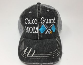 ec082409d0c4b Color Guard Mom with Flags Monogrammed Embroidered Trucker Cap Dark Gray