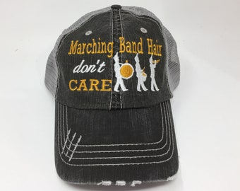 Marching Band Hair Don t Care Monogrammed Embroidered Trucker Cap Dark Gray 916b9ed7c55