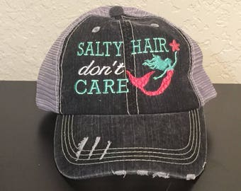 6c7bbcf3b40 Salty Hair Don t Care with Mermaid Embroidered Monogrammed Distressed  Trucker Cap Dark Gray