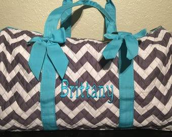 Chevron Print Monogrammed Duffle Bag Gray and White with Turquoise Trim.  CoHoBags 556d069428b80