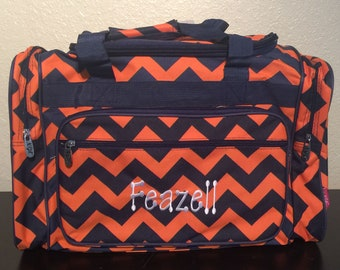 3cb8b1685ca9 20 inch Chevron Print Canvas Monogrammed Duffle Bag Navy Blue and Orange