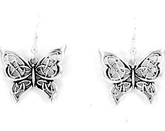 Silver Butterfly with Cutouts Dangle Style Pierced Earrings