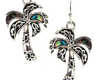 Palm Tree Abalone Earrings