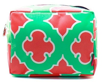 Monogrammed Make up Bag Cosmetic Case Toiletry Bag Geometric Shapes