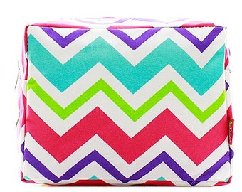 Personalized Monogrammed Cosmetic Case Make Up Bag Toiletry Bag Multi Color  Chevron Print d97f80ca02f15