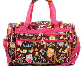 ecffe80e199e 20 inch Owl Print Canvas Monogrammed Duffle Bag Hot Pink Trim