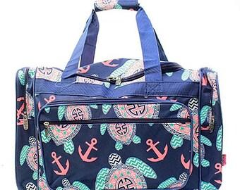 20 inch Turtle Print Canvas Monogrammed Duffle Bag Navy Blue Trim. CoHoBags 509a61d65f568