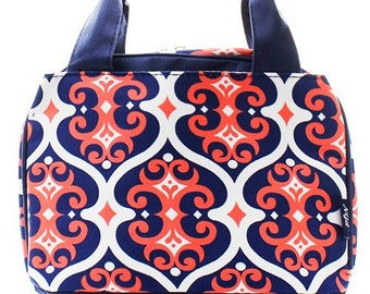 Navy and Coral Vine Print Monogrammed Lunch Box Insulated Bag. CoHoBags 5ffd7474f17d2